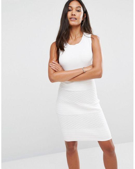 SuperTrash | Женское Облегающее Платье В Рубчик Douk Белый
