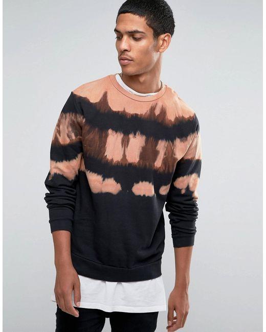 Asos   Sweatshirt With Camel Yoke Dip Dye Черный