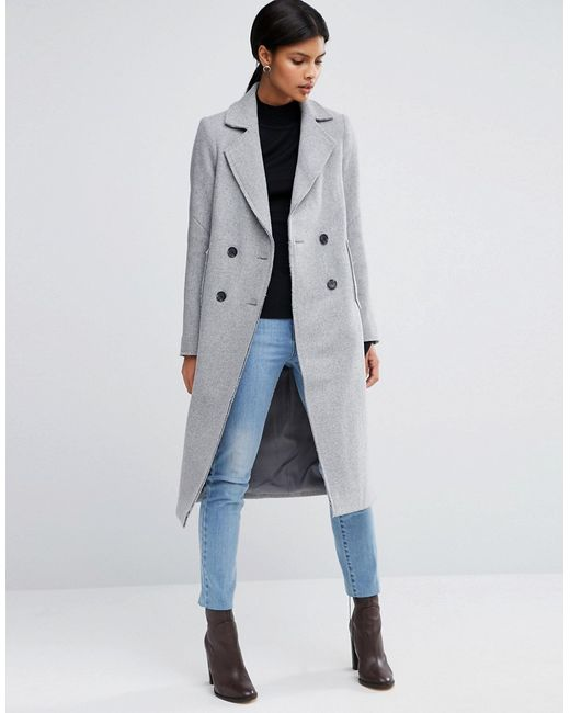 Asos   Wool Blend Coat With Raw Edges And