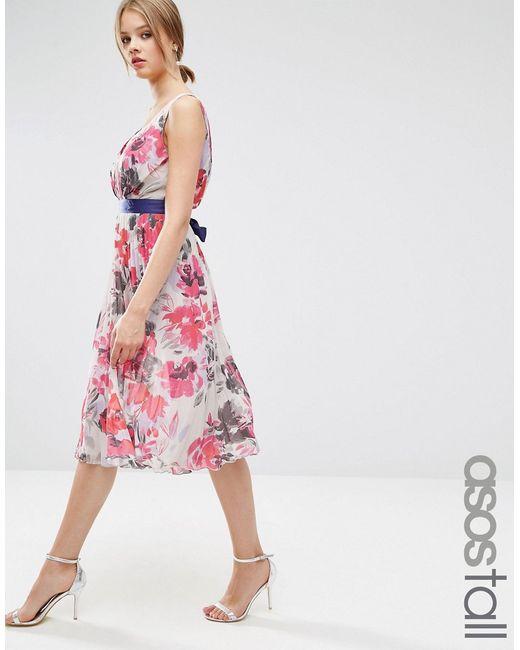 ASOS TALL | Женское Короткое Приталенное Платье С Цветочным Принтом И