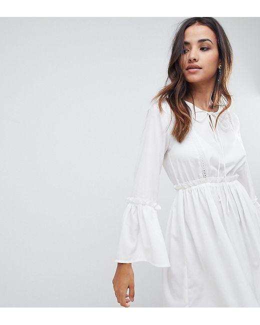 26f55558cb5 Женское Белое Свободное Платье С Кружевными Вставками boohoo 7394320