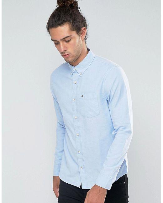 Hollister | Мужская Синяя Оксфордская Рубашка Узкого Кроя С Логотипом