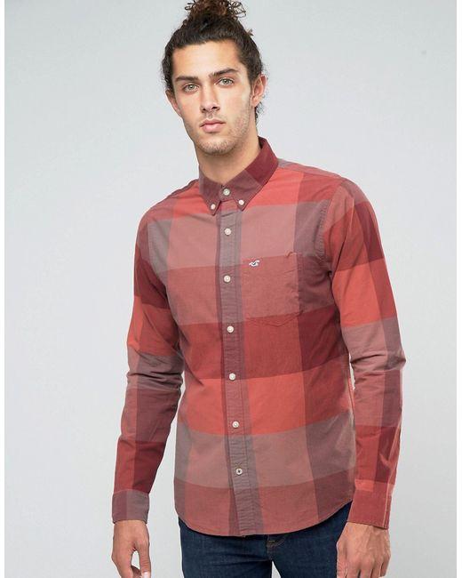 Hollister | Мужская Бордовая Рубашка Узкого Кроя Из Поплина В