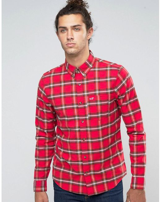 Hollister | Мужская Оксфордская Рубашка Слим В Красную Клетку Тартан