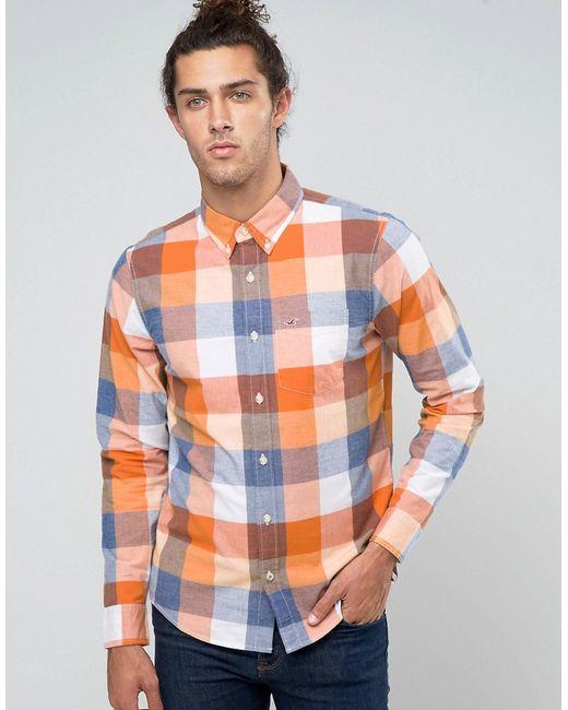 Hollister   Мужская Стретчевая Оксфордская Рубашка В Синеоранжевую Клетку С