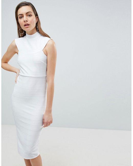 c5fb521d50406d9 Женское Белое Облегающее Платье Миди С Высокой Горловиной Asos 6943440