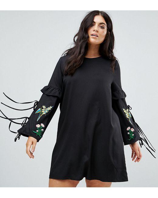 Boohoo Plus   Женское Чёрное Платье С Вышивкой И Кисточками