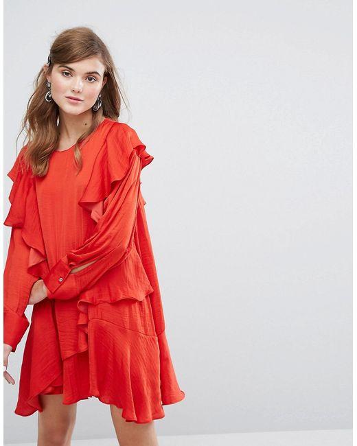 90a4e979768 Женское Красное Платье С Длинным Рукавом И Оборками Sister Jane 6432152