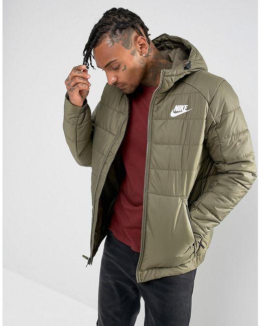 Nike   Мужская Зелёная Зеленая Куртка С Капюшоном 861786-222