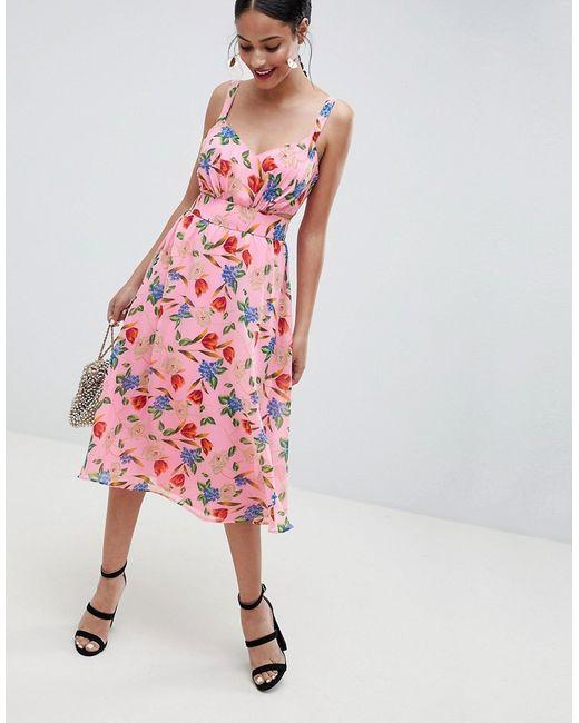 673e11202d5 Asos - Женское Многоцветное Розовое Платье Миди С Вырезами И Цветочным  Принтом Design