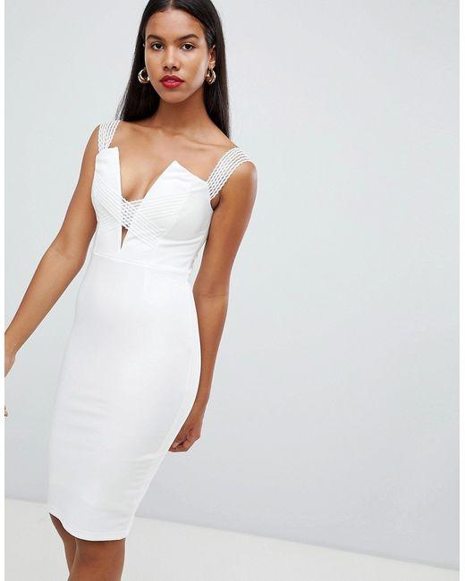 15f17702433d Rare - Женское Белое Платье Миди С Открытыми Плечами И Перекрещенными  Бретельками