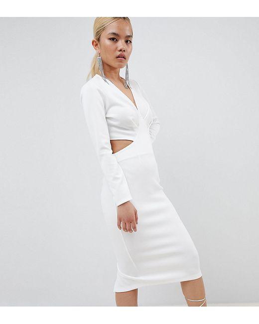85de9d4b45756f6 Женское Белое Облегающее Платье Миди Design Petite ASOS PETITE 7270266