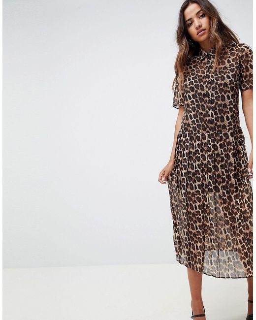 98233d30821 Asos - Женское Многоцветное Плиссированное Платье-Рубашка Миди С Леопардовым  Принтом Design