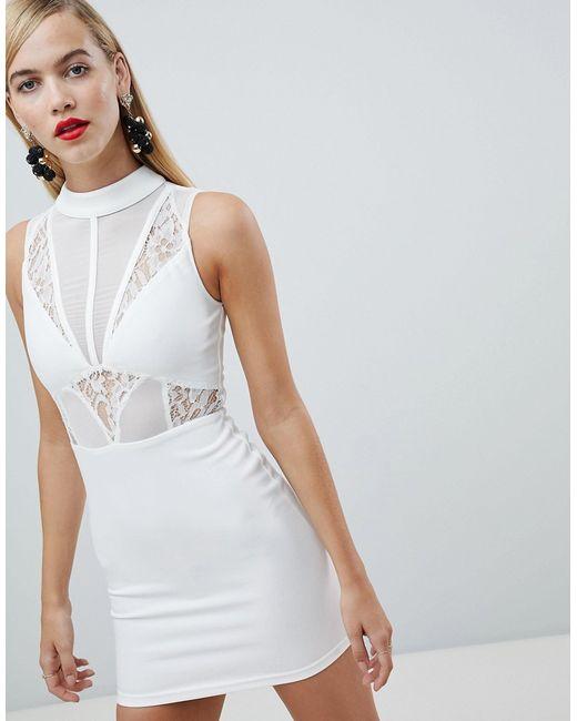 84f3148a645 Rare - Женское Белое Платье Мини С Высоким Воротником И Кружевными Вставками