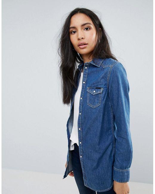 Pepe Jeans London | Женская Синяя Джинсовая Рубашка Rhonda