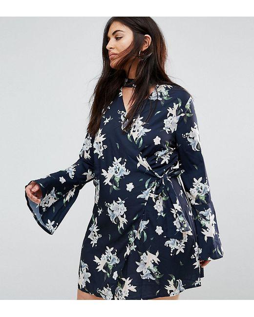 Missguided Plus | Женское Синее Платье С Расклешенными Рукавами И Цветочным Принтом