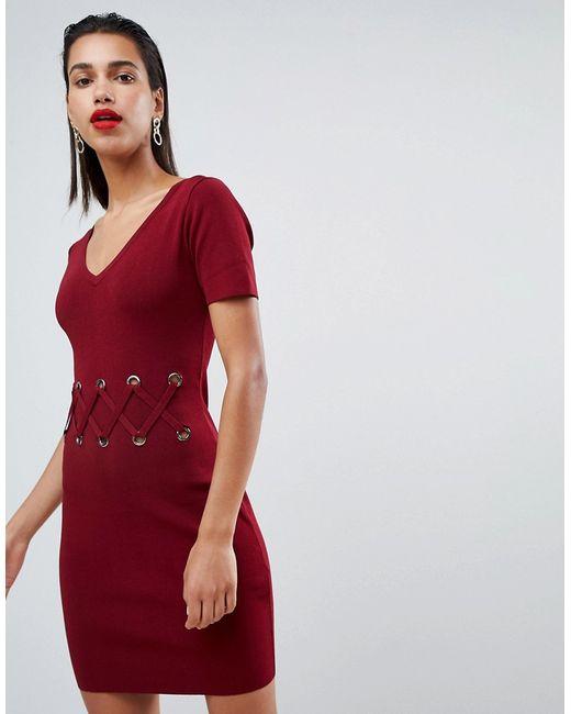 fd70e24350a Женское Красное Облегающее Платье С Металлическими Элементами Morgan ...