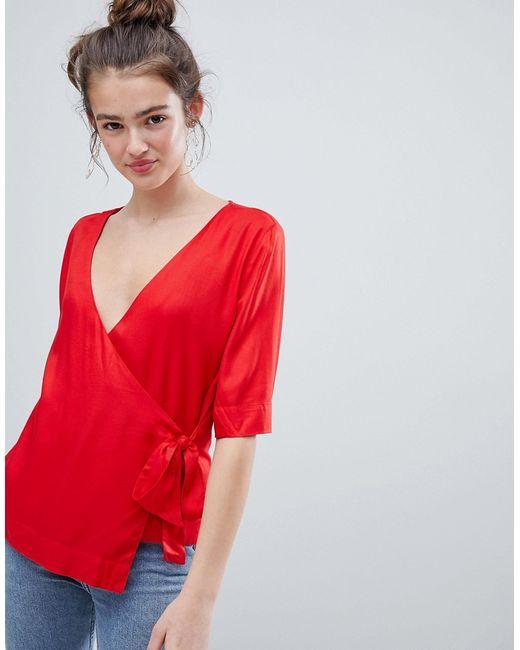 47dc3016865 Женская Красная Блузка С Запахом Monki 7576938
