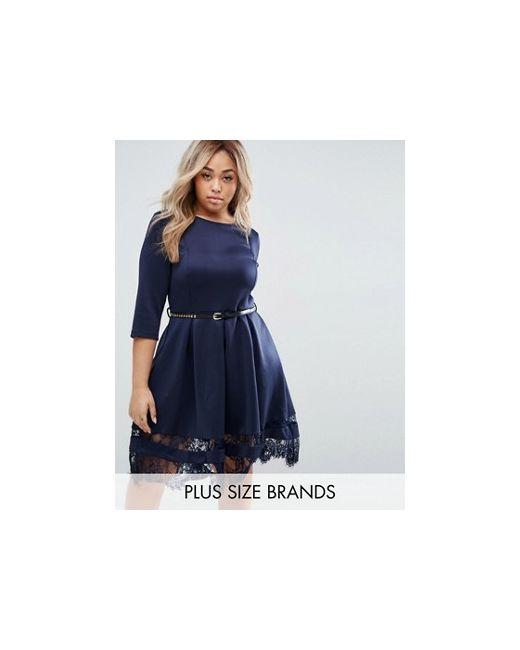 Praslin | Женское Синее Короткое Приталенное Платье С Кружевом По Краю