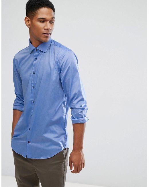 Tommy Hilfiger | Мужская Синяя Облегающая Рубашка