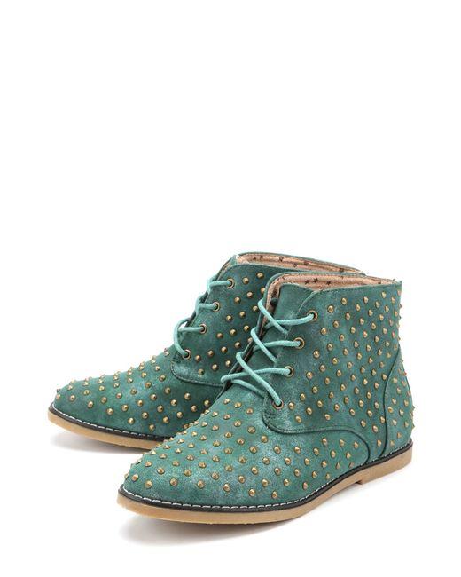 Yaro   Женские Зелёные Ботинки