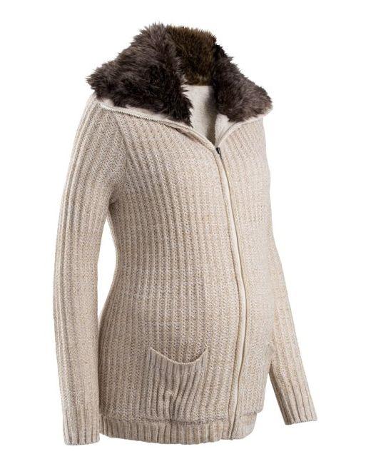 bonprix | Женская Антрацитовый Меланж Мода Для Беременных Кардиган С Искусственным Мехом