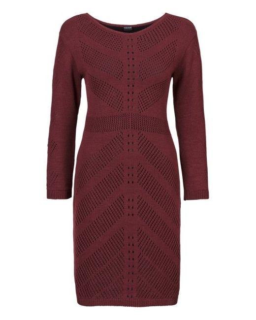 bonprix   Женское Бежевое Вязаное Платье С Ажурным Узором