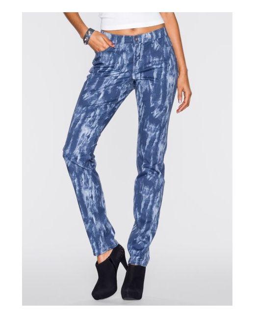 bonprix | Женская Синяя Мода Больших Размеров Брюки С Принтом