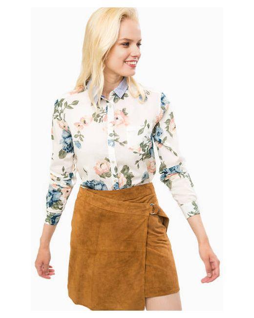 Pepe Jeans London   Женская Белая Хлопковая Рубашка С Цветочным Принтом