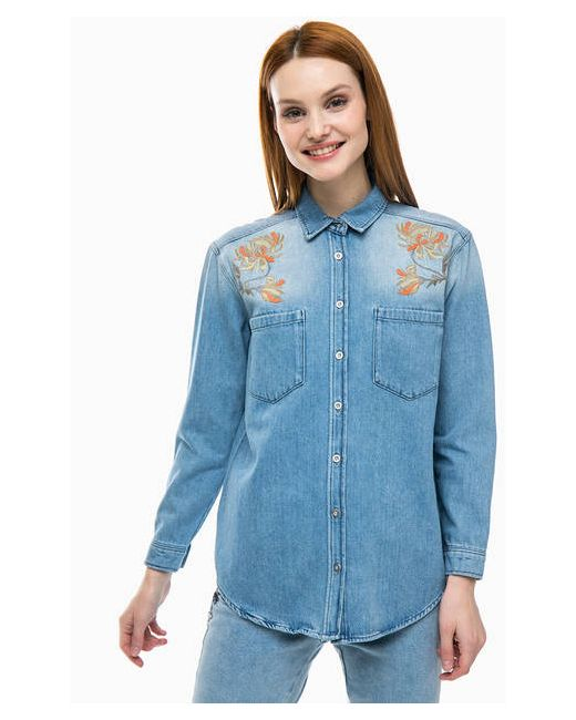 08ad0ad4eeea29b Женская Синяя Джинсовая Рубашка С Вышивкой Mavi 1206462