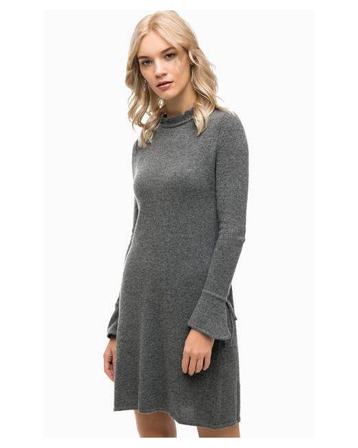 Stefanel   Женское Серое Вязаное Платье На Молнии