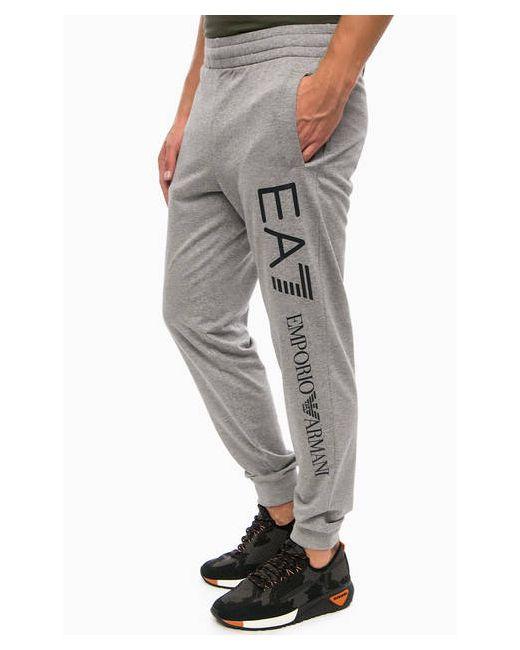EA7 | Мужские Серые Хлопковые Брюки С Логотипом Бренда
