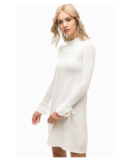 Stefanel | Женское Молочное Вязаное Платье Молочного Цвета