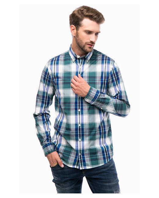 Tommy Hilfiger | Мужская Бирюзовая Приталенная Рубашка В Клетку