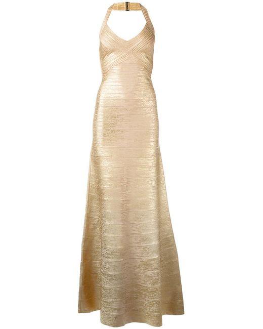 Hervé Léger   Женское Nude/Neutrals Embossed Detail Evening Dress Medium Rayon/Nylon/Spandex/Elastane