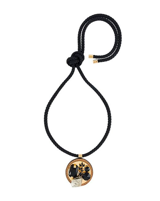 Marni | Чёрный Embellished Circle Pendant Necklace