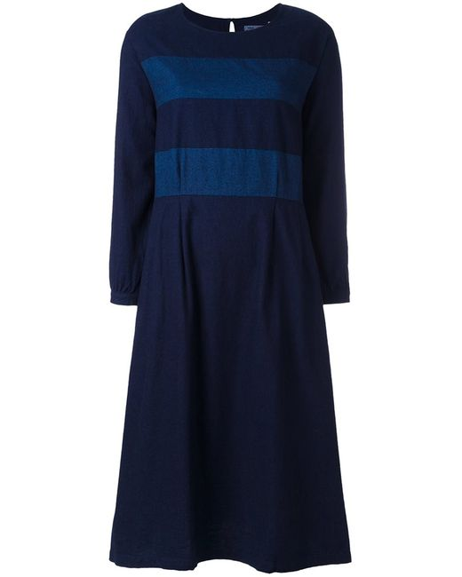 Blue Blue Japan | Женское Синий Striped Dress Medium Cotton