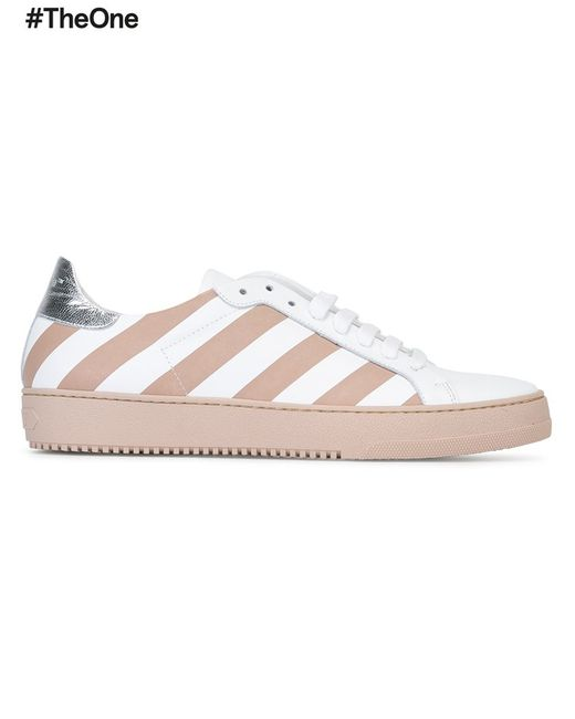 OFF-WHITE | Женское Белый Diagonal Stripe Sneakers 36 Leather/Rubber