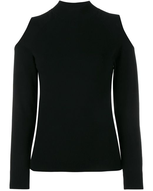 OSMAN   Женское Чёрный Cutout Knit Long Sleeve Top 10 Viscose