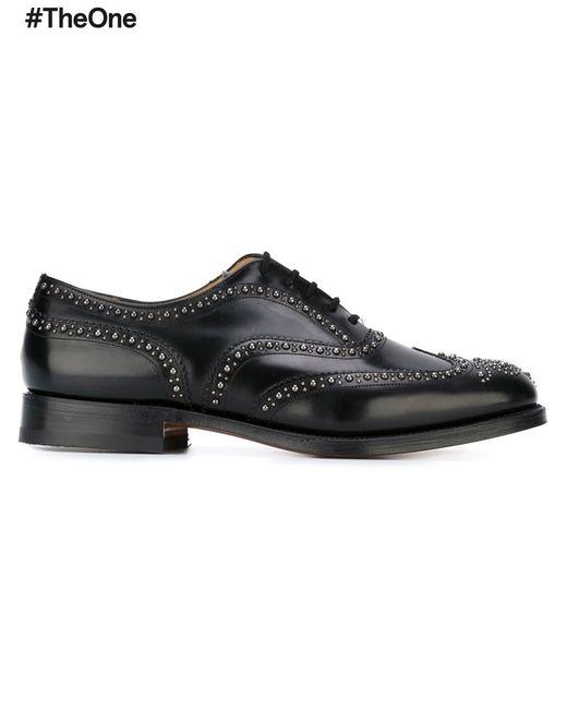 Church'S | Мужское Чёрный Studded Brogues 6 Leather/Metal Other