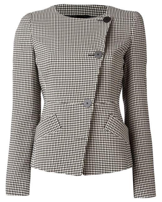 Emporio Armani | Женское Белый Houndstooth Pattern Jacket 40 Cotton/Polyester/Viscose