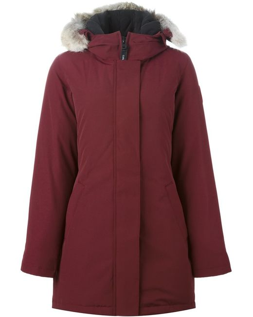 Canada Goose   Женское Красный Victoria Parka Large Cotton/Feather Down/Nylon/Coyote Fur