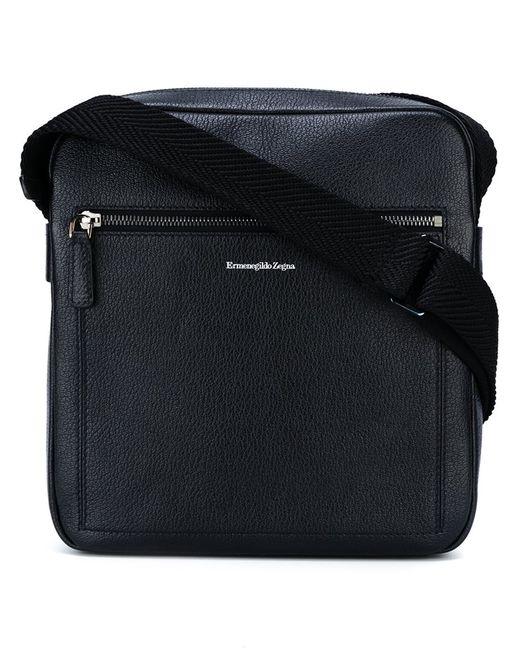 Ermenegildo Zegna | Мужское Чёрный Logo Embossed Messenger Bag Calf Leather
