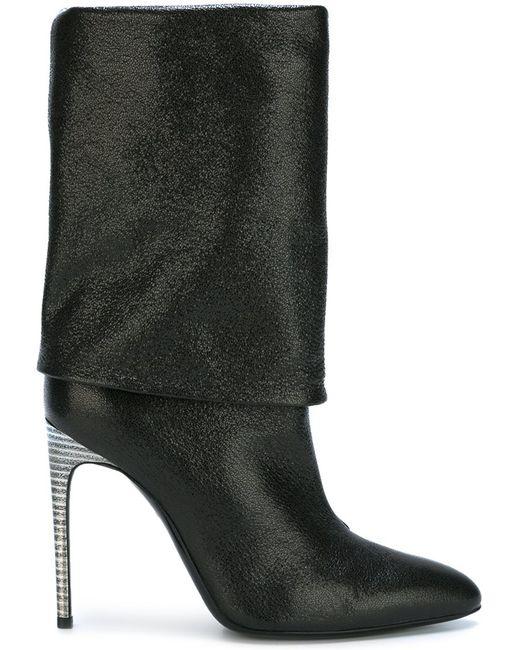 Pollini | Женское Чёрный High Heel Fold Over Boots 37 Leather