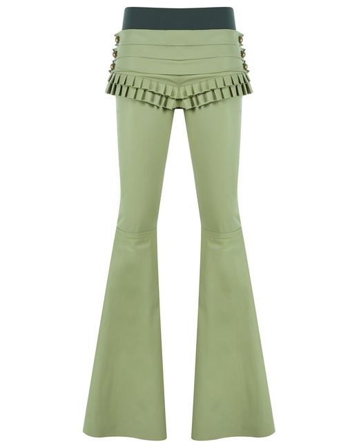 Andrea Bogosian | Женское Зелёный Leather Flared Trousers P Leather