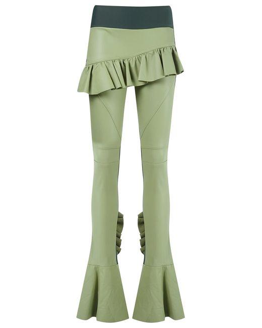 Andrea Bogosian   Женское Зелёный Leather Flared Trousers Medium Leather