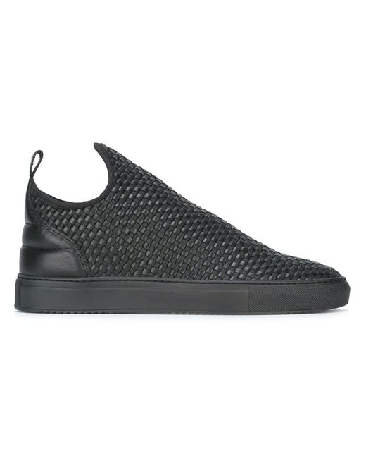 Filling Pieces | Мужское Чёрный Slip-On Sneakers 39 Leather/Rubber