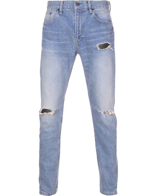 Monkey Time | Мужское Синий Distressed Skinny Jeans Xl Cotton/Calf Leather/Polyurethane