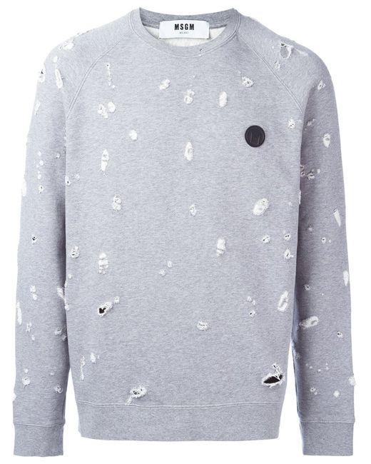 MSGM   Мужское Серый Frayed Sweatshirt Medium Cotton/Viscose