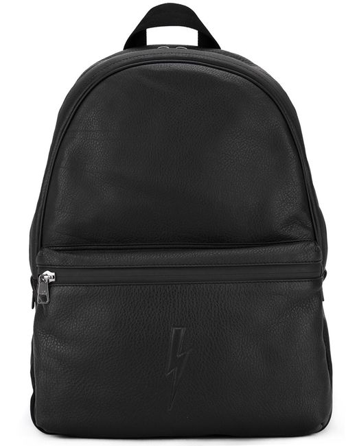 Neil Barrett   Мужское Чёрный Lightning Bolt Backpack Leather/Polyester